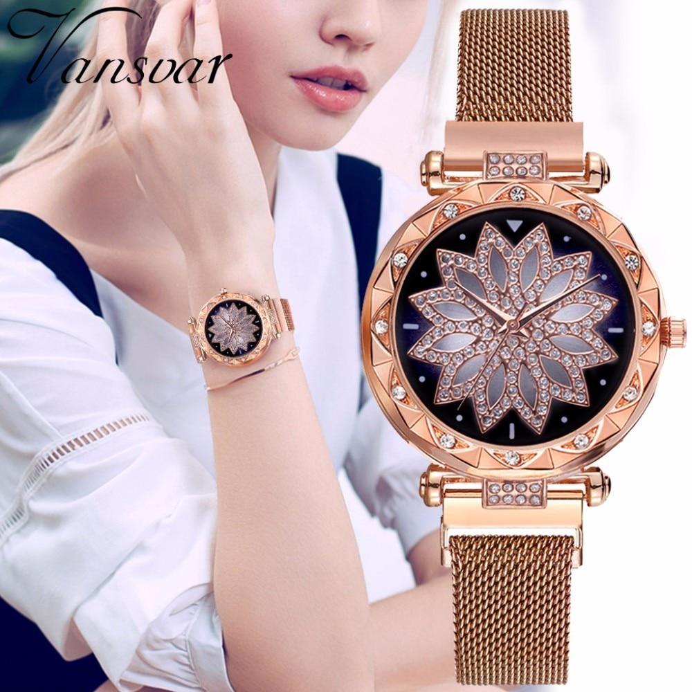 Luxus Starry Sky Frauen Uhren Quarz Magnet Mesh Rose Gold Lila Klassische Mode Diamant Relogio Feminino Wasserdicht Geschenk