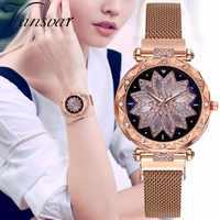 Luxus Starry Sky Frauen Uhren Quarz Magnet Mesh Rose Gold Lila Klassische Modus Diamant Relogio Feminino Wasserdicht Geschenk