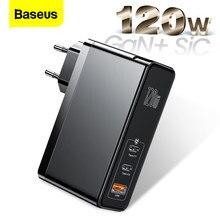 Baseus – chargeur 120W GaN SiC USB type-c Quick Charge 4.0/3.0, adaptateur secteur pour Macbook Pro/iPad/iPhone/Samsung/Xiaomi