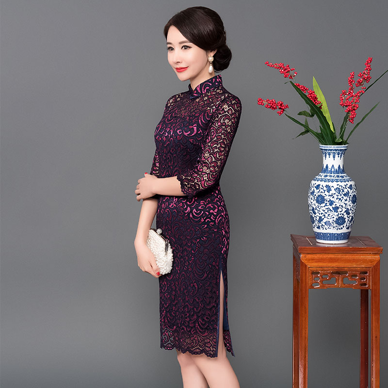 Ladies <font><b>Sexe</b></font> Lace Cheongsam 2019 <font><b>Chinese</b></font> style Mandarin Collar Knee Length <font><b>Dress</b></font> Womens Qipao Slim Party <font><b>Dresses</b></font> Vestido 4XL image