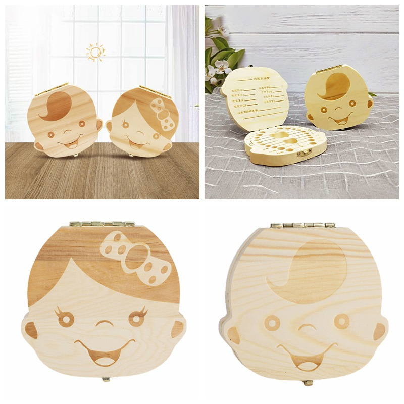 Baby Deciduous Teeth Milk Tooth Keepsake Box Wooden First Tooth And Curl Deciduous Teeth Saver Boxes Container For Child Kids