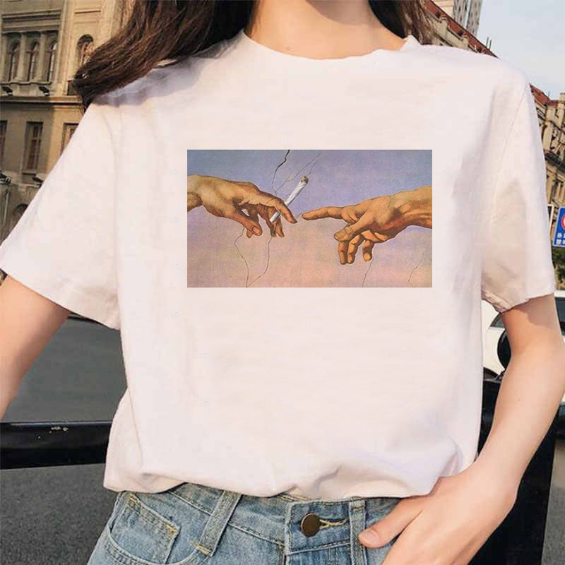 New Michelangelo   T     Shirt   Ulzzang Hands Femme Vintage Women Harajuku Tshirt 90s Aesthetic Female Grunge Graphic   T  -  shirt