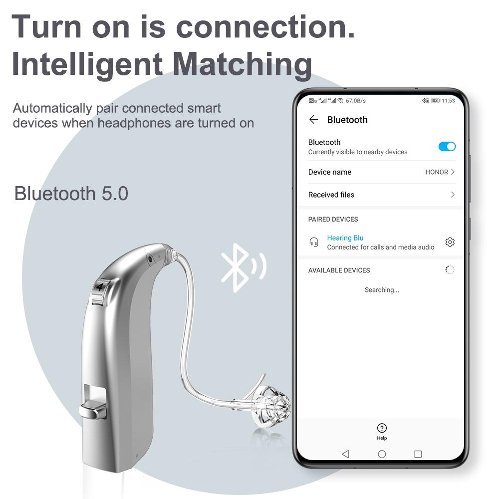 2021 Best Bluetooth 20 Channel Digit Rechargeable Hearing aid BTE Ear Hearing Aids Audifonos Sound Amplifier for The Deafness