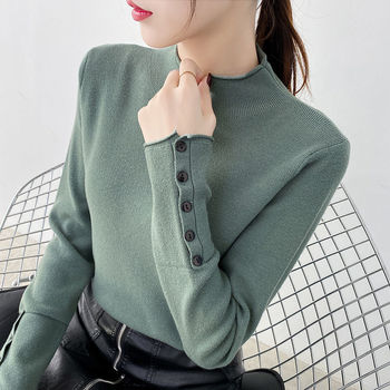 autumn and winter sweater women 2020 new slim size long sleeve bottoming shirt students korean warm sweater t shirt tide Autumn and winter new semi-high collar pullover sweater female Korean loose long sleeve knitted bottoming shirt tide