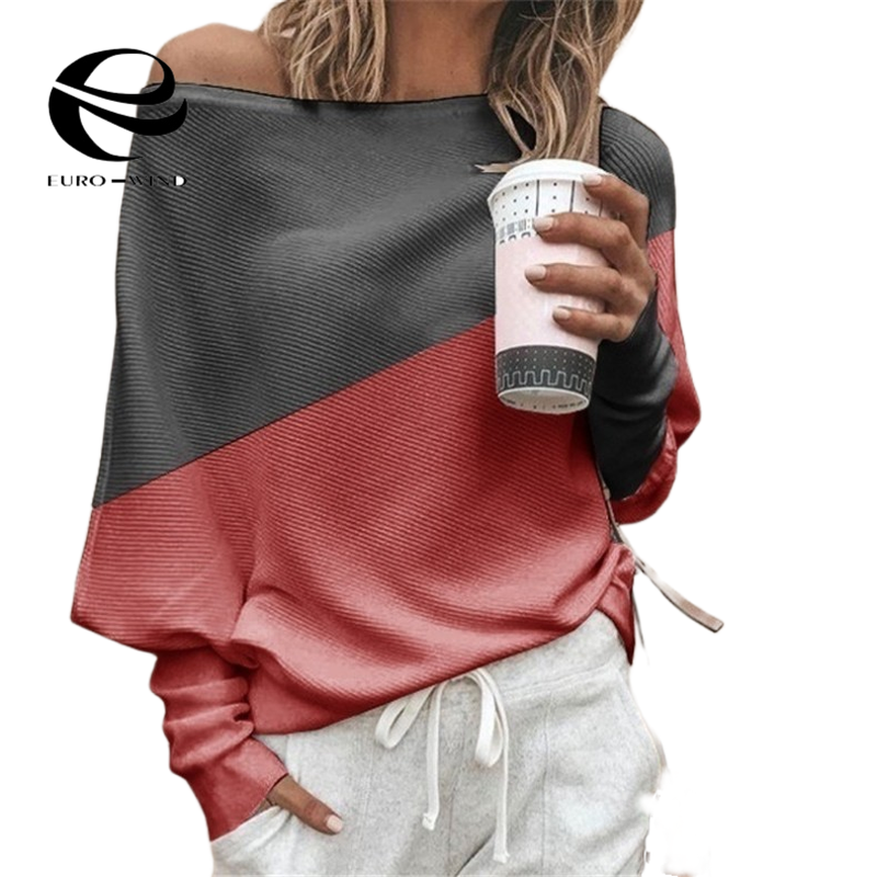 Plus Size Women Batwing Sleeve Sweater Autumn Off Shoulder Knitted Sweaters Pullover Tops Ladies Patchwork Loose Jumper Knitwear