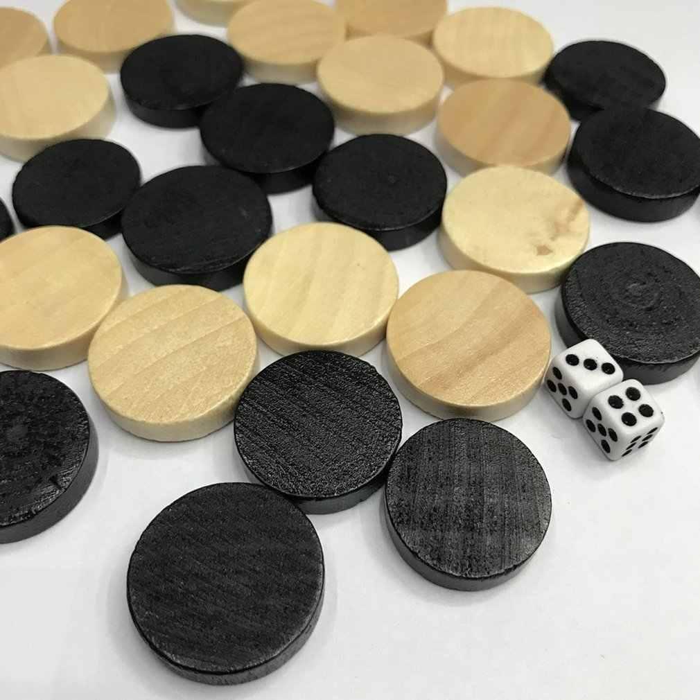 Naturale di Legno di Scacchi Dama e Dama e Backgammon Scacchi Pezzo per I Bambini Gioco Da Tavolo di Apprendimento di Campeggio