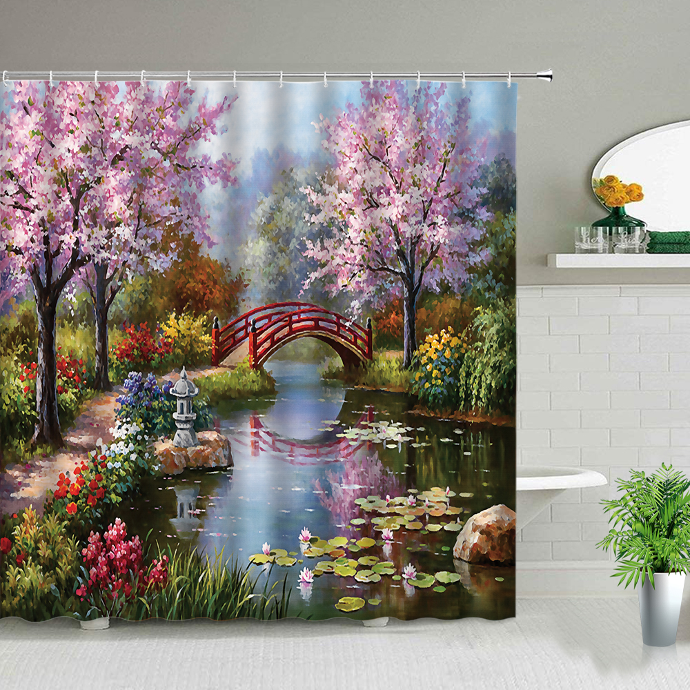 Oil Painting Scenery Shower Curtains Flowers Plant Swan Spring Landscape Bath Curtain Waterproof Bathroom Decor Polyester Cloth