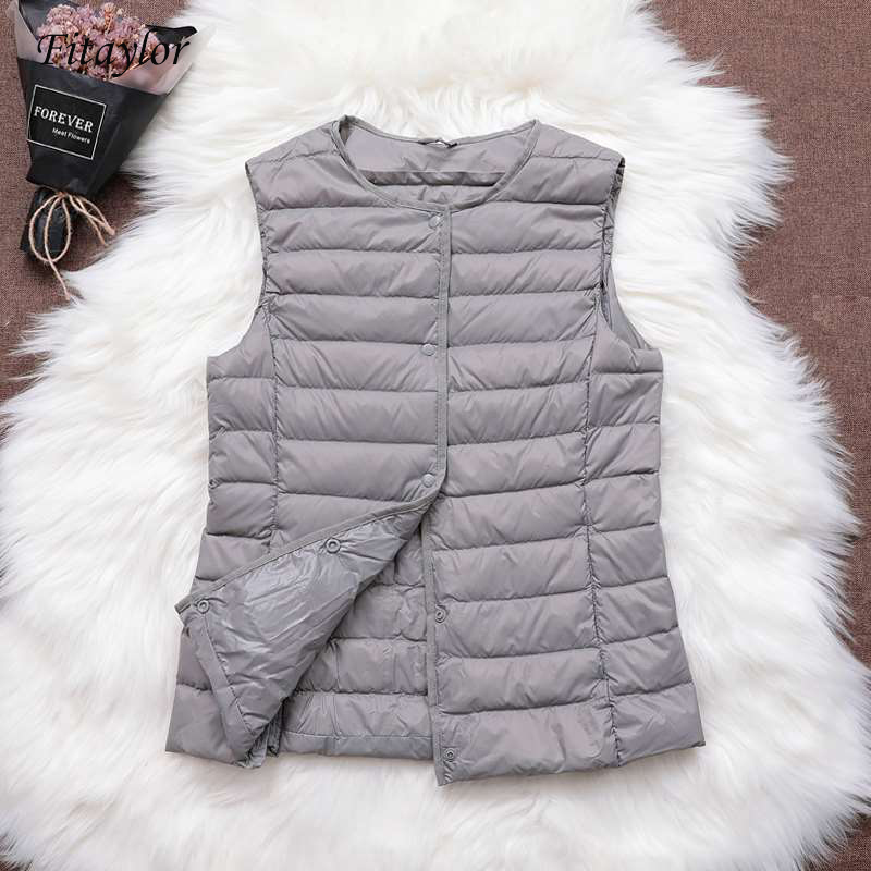 Fitaylor 90% Ultra Light White Duck Down Women Vest Thin Coat Women Duck Down Sleeveless Jacket V Collar Or O Collar Coat