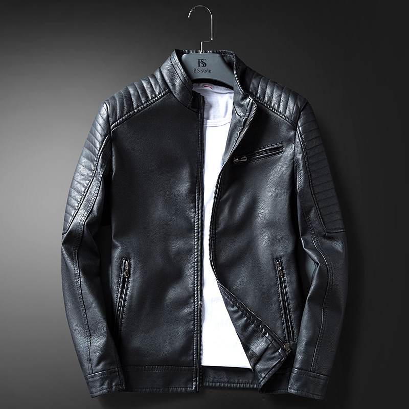 Autumn And Winter New Style Men Jacket Plus Velvet Jacket Up Leather Short Slim Fit Locomotive MEN'S Leather Coat 635