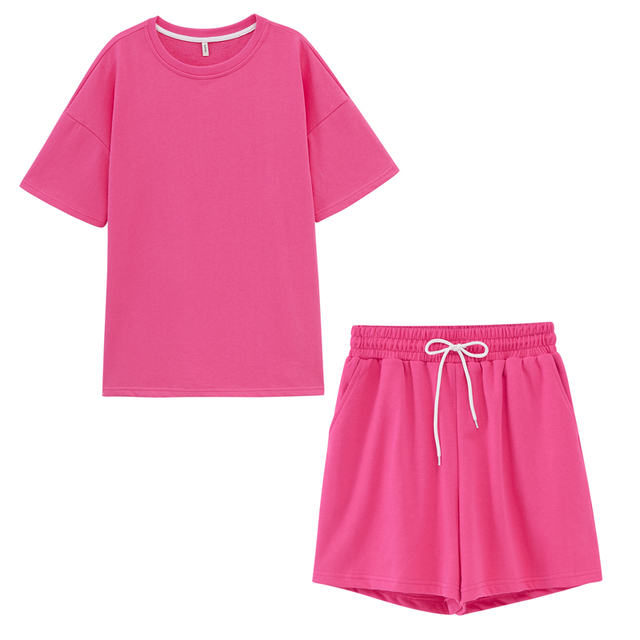 Toppies Summer Tracksuits Womens Two Peices Set Leisure Outfits Cotton Oversized T-shirts High Waist Shorts Candy Color Clothing 6