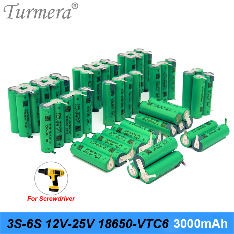 Turmera 3S 12.6V 4S 16.8V 5S 21V 6S 25V VTC6 Battery Pack TUR18650VTC6 3000mah Battery 30A for 18V Screwdriver Battery Customize