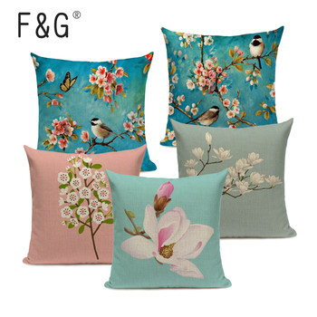 Watercolor Flower Cushion Cover Vintage Bird Blue Pink Pillow Case Transparent Flowers Sofa Decorative Pillow Cover 45*45cm fashionable dizzy watercolor painting mixture design pillow case