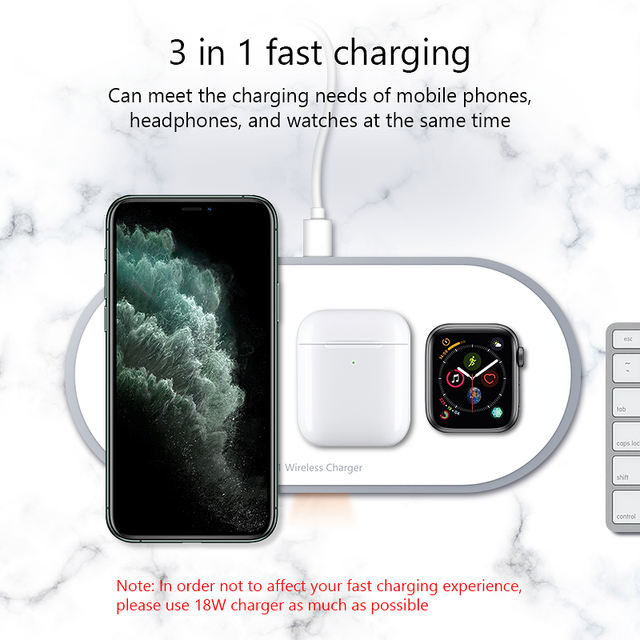 3-in-1 10W Fast Wireless Charging Wireless Charger for iPhone 11 / 11Pro / X / XS / 8