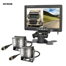 "DIYSECUR 7"" 2 Split LCD Screen Car Monitor LED CCD Backup Rear View Car Camera System for Bus Houseboat Truck(China)"