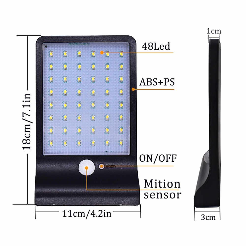 48 LED de energía Solar farola PIR Sensor de movimiento lámparas jardín seguridad lámpara exterior calle IP65 impermeable luces de pared remoto