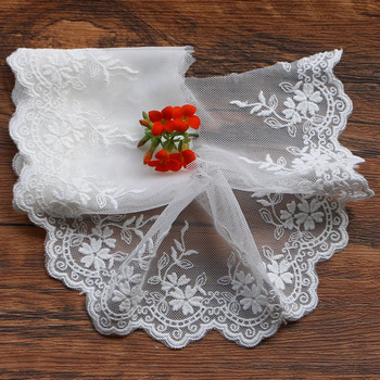 1yard white lace cotton embroidery lace french gauze lace ribbon fabric diy trims handmade clothing wedding sewing Accessories image