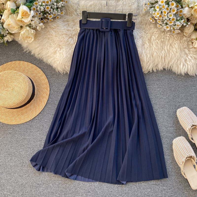 2020 Spring Bright Color Belted Pleated Skirt Elastic High Waist Fashion Women Solid Pleated Skirt H429