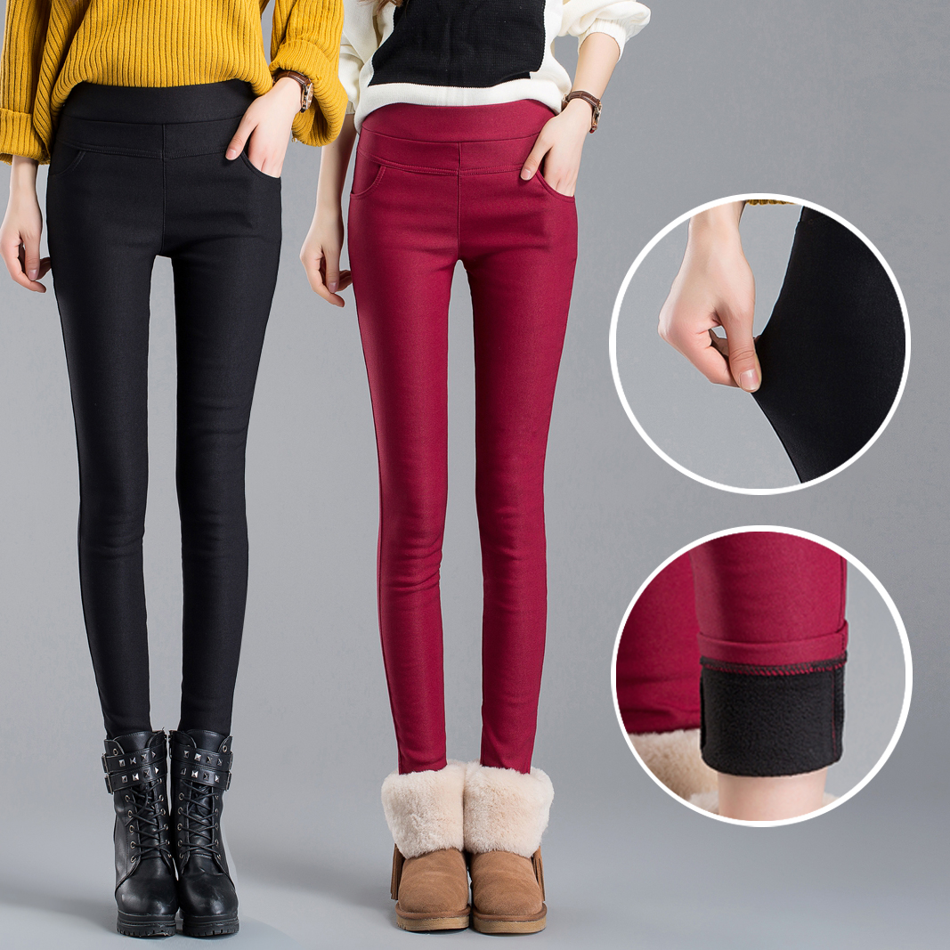 2019 women   pants     capris   pencil   pants   fleece warm casual female trousers elastic Autumn Winter velvet thick leggings dropshipping
