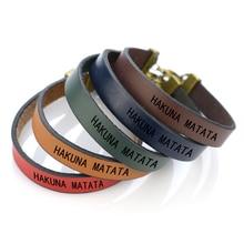 HAKUNA MATATA Letters Engraved Bracelet Movie African Proverb  Bangle Laser Lettering Retro Leather Bracelets Women Sisters Gift
