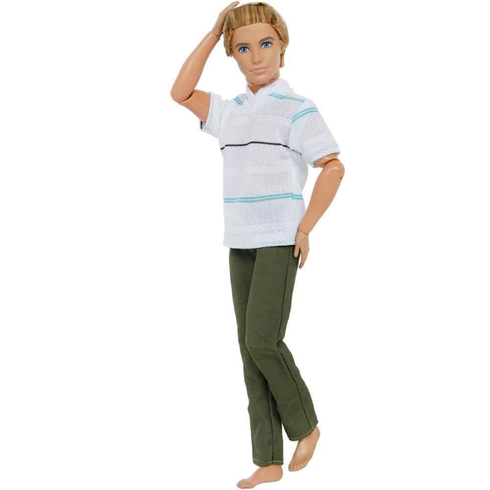 Moda 1 Set trajes de hombre ropa Casual rayas blanco camiseta pantalones verdes pantalones muñeca accesorios ropa para muñeca Barbie Ken