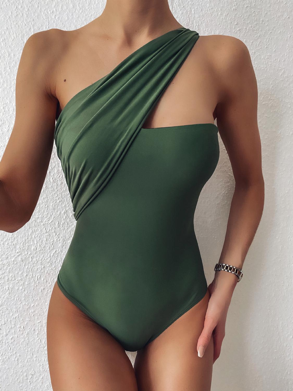 Roupa de Banho para Mulheres de Uma Impressão do Vintage Vigorosamente Sexy Verde Peça Maiô Feminino um Ombro Monokini 2020 Swim Wear