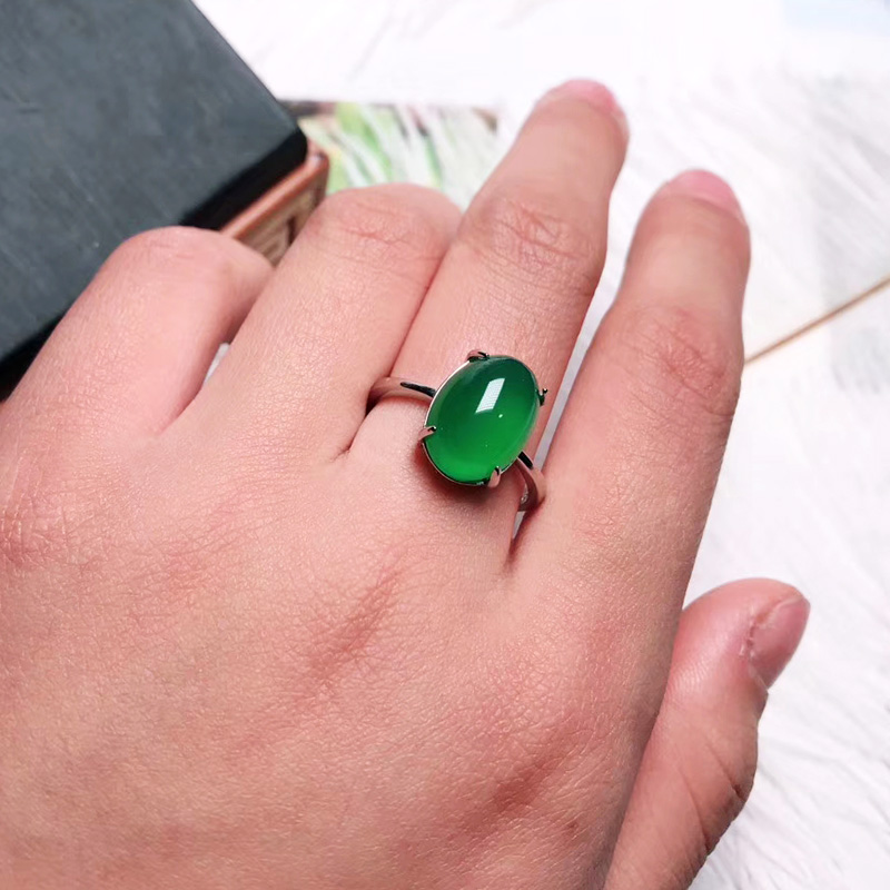 Jadery 925 Sterling Silver Rings For Women Natural Green Gemstone Jade Ring Wedding Silver 925 Jewelry Anillos Christmas 2019