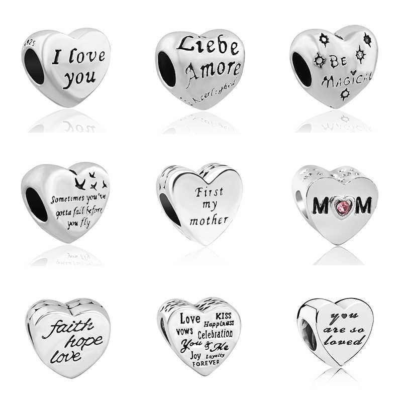 Familia amor esperanza amor Mamá y Papá exquisito mamá encanto corazón cuentas Fit Pandora pulsera y brazalete para Mujeres Hombres regalo del Día de la madre DIY