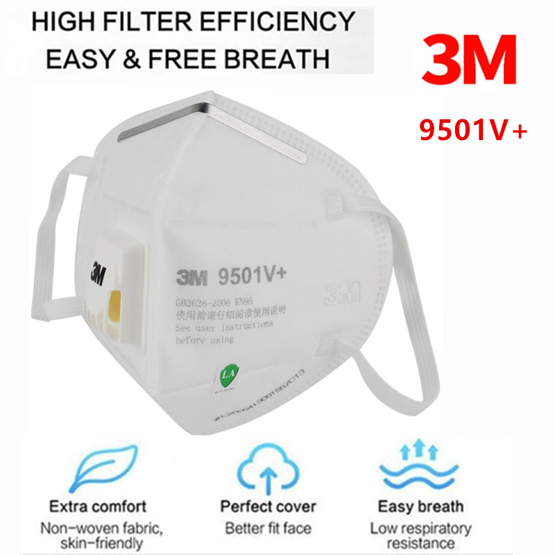 3M 9501V+ KN95 Mask Particulate Respirator Protective Masks Safety Mask Disposable Face Mouth Mask Features As N95 KF94 FFP2