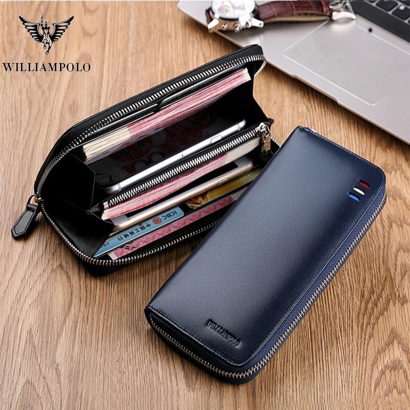 Men Wallet Genuine Leather Long Zipper Clutch Wallet Blue Black Phone Bag Fashion Card Holder Purse Original Cowskin PL273