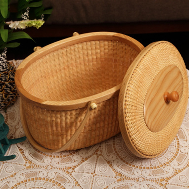 Hot Sale Basket with Lid, Picnic Basket, Shopping Basket, Rattan Basket, Double Handle Storage Basket