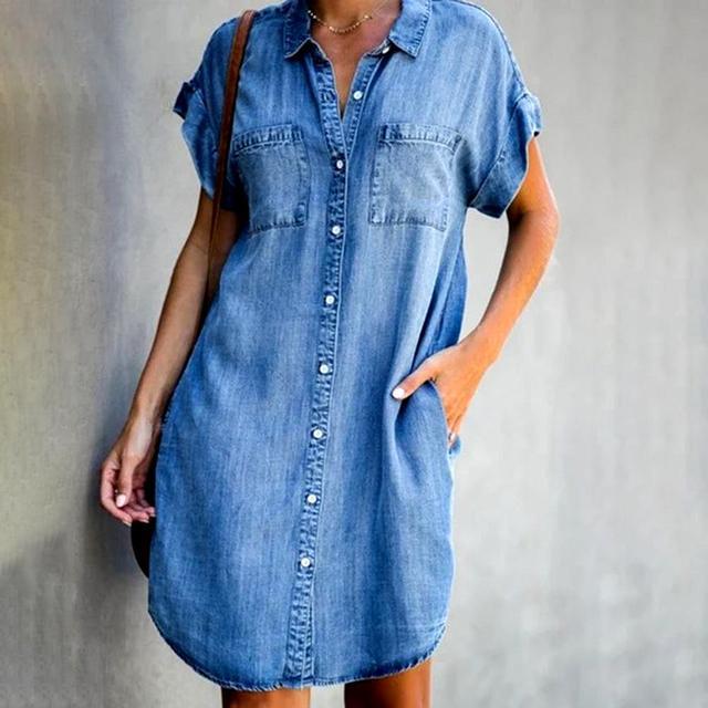 Women's Summer Fashion Solid Turn Down Neck Blue Jeans Denim Shirt Dress Short Sleeve Pockets Single-breasted Women's Jean Dress 3