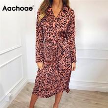 Dress Bandage Long-Sleeve Vestidos-De-Fiesta Party Aachoae Vintage Women Leopard Sexy