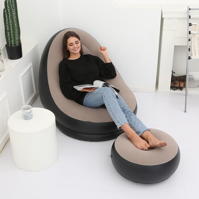 Reading Chair With Ottoman Lazy Sofa Inflatable Folding Recliner With Pedal Comfortable Flocking Single Sofa Chair Pile Coating