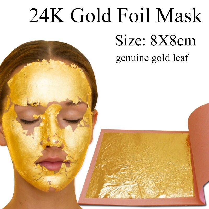 24K Genuine Gold Leaf 8x8cm 25pcs/booklet Gold Foil For Cake Decoration Mask Arts Crafts Edible Gold Leaf Sheets Gilding Foil
