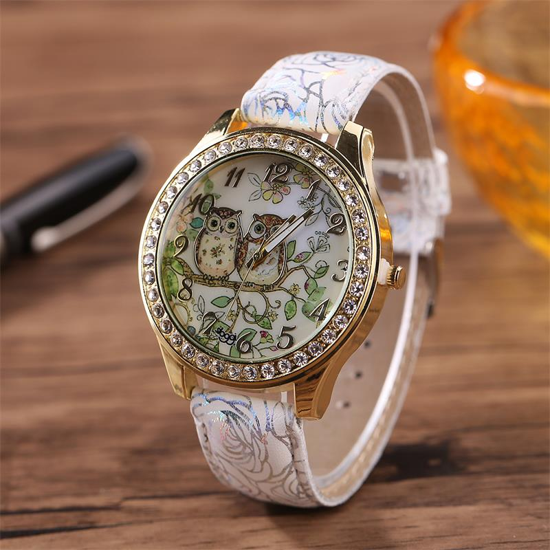 MINHIN Fashion Cartoon Owl Couple Watches Men Women Relogio Quartz Watch Leather Strap Quartz Wristwatches Relojes Mujer