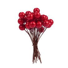 30pcs Mini Christmas Red Berries Christmas Decoration tool Small Red Fruit 10mm Christmas treeSimulation Berry(China)