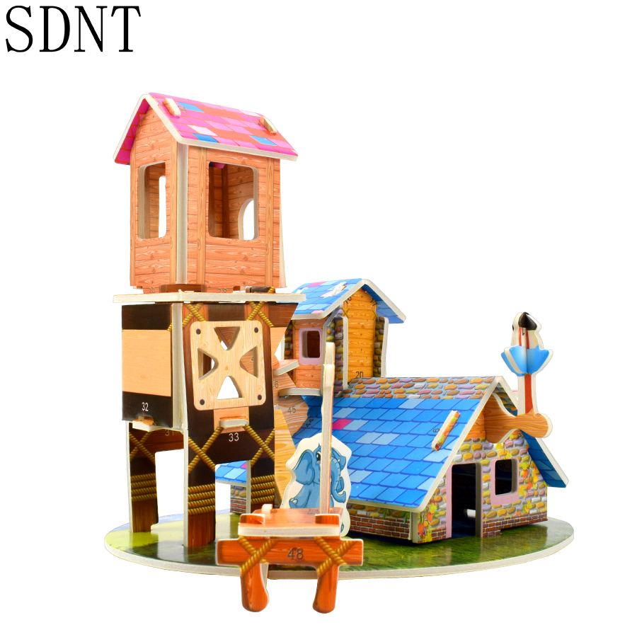 Farm House 3D Puzzle Toys Cardboard Building DIY Assembly  Paper Model Kits Educational Toy For Children Gift Home Decoration