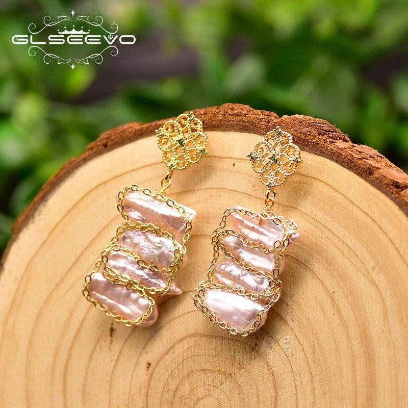 GLSEEVO düzensiz barok pembe inci kadınlar için parti inci küpe düğün takısı el yapımı takı Bnoucle d 'oreille GE0827