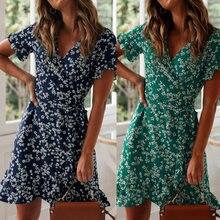Estampado Floral de Boho volantes vestido de las mujeres de Verano de 2020 Sexy cuello en V de manga corta de gasa Mini vestidos vacaciones playa vestido de verano