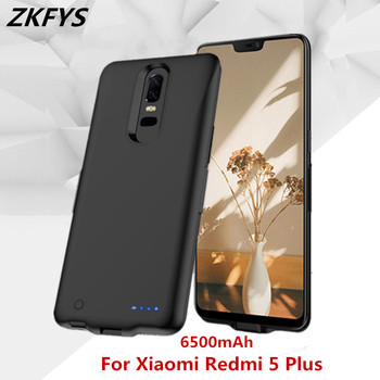 ZKFYS Power Case 6500mAh Ultra Thin Fast Charger Battery Case For Xiaomi Redmi 5 Plus External Power Bank Battery Charger Case