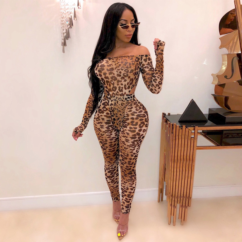 Sexy Bodysuit Leggins Women Leopard Tiger Hollow Out Spring Autumn Slash Neck Tracksuit Party Club Bodycon Two Piece Outfits