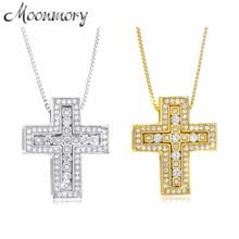 Moonmory 100% Authentic 925 Sterling Silver European Women Luxury Zircon Double Cross Pendant Necklace For Japan Men Necklaces