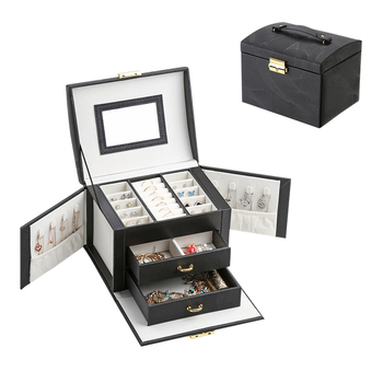 2020 Large PU Leather Jewelry Storage Box Organizer Drawer Earring Ring Necklace Jewellery Case Velvet