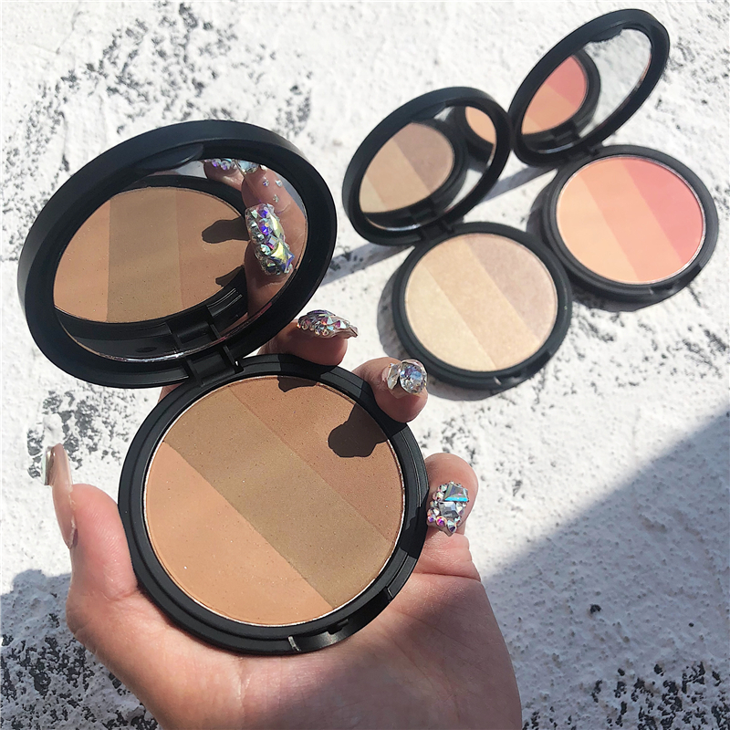 HIGH QUALITY Face Pressed Mineral Powder Cosmetics Long Lasting Contour Highlighter Blusher Palette