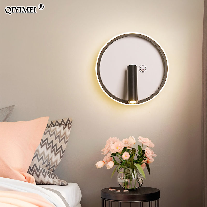 Modern LED Wall Lamp With Switch Rotation Sconce New Indoor Wall Light Bedroom Bedside Lighting Wandlamp Background AC90-260V