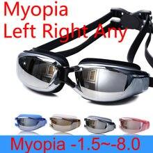 Óculos de natação miopia mulheres anti nevoeiro adultos prescrição profissional à prova dwaterproof água natação piscina óculos de mergulho óptico