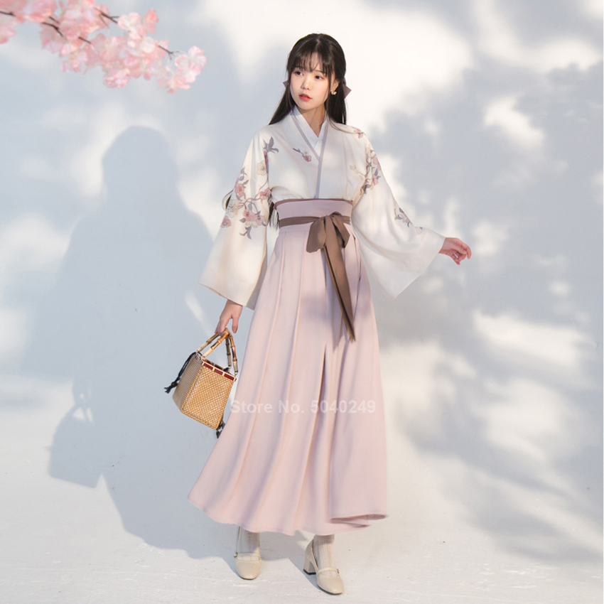 New Chinese Traditional Clothing Hanfu Festival Streetwear Dress Floral Printed Elegant Folk Dance Costume Fashion Top Skirt Set