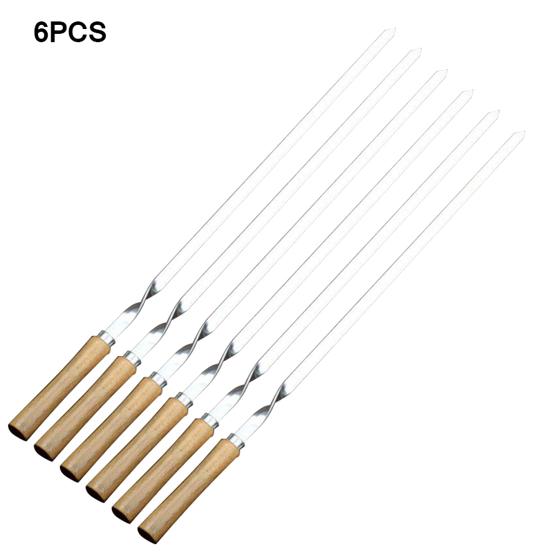 Hot Sale BBQ Skewer Stainless Steel Shish Kebab BBQ Fork Set Long Flat Wood Handle Barbecue Needle Meat Grill Outdoor Tools 6pcs