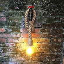 Lámpara de pared industrial con cuerda de tubería de hierro, lámpara de desván para cocina, dormitorio, sala de estar, vintage, restaurante, Bar, luz de tocador