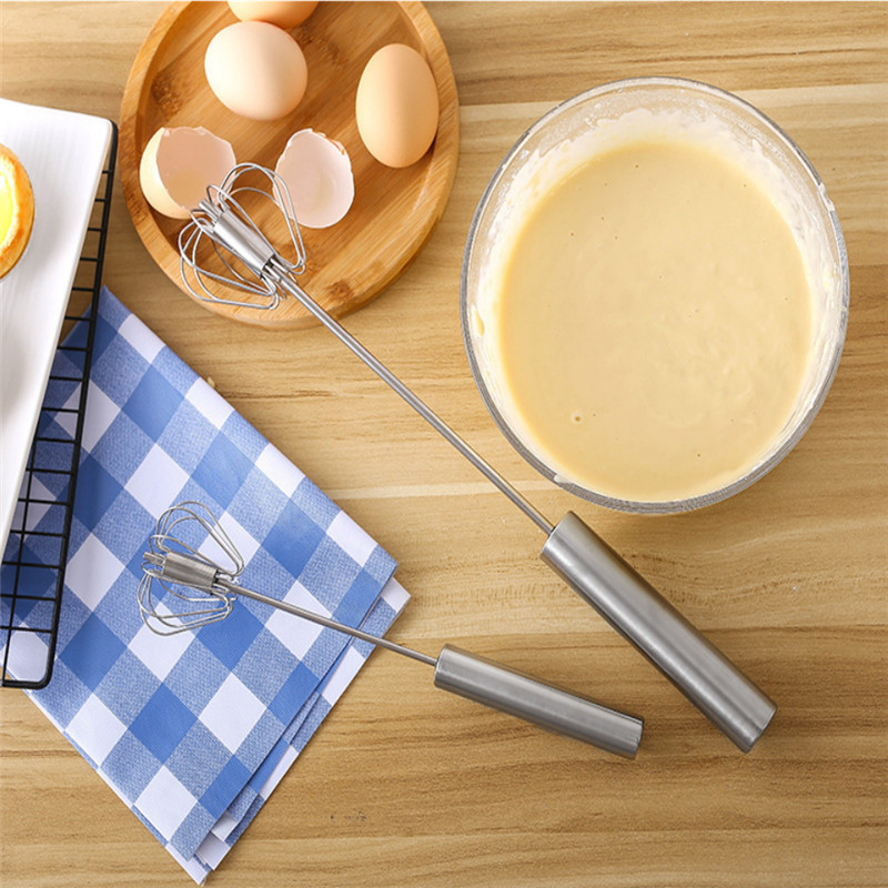 Kitchen accessories mixer egg beater manual self turning stainless steel whisk hand blender egg cream stirring kitchen gadgets
